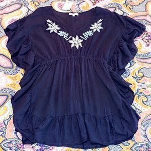 Miken swim caftan cover-up L black embroidered NWT